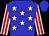 Blue, white stars, red stripes on white sleeves, blue cap (Ociel Barrera)