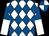 White & royal blue diamonds, halved sleeves, quartered cap (Maurice F Aherne)