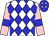 white, blue diamonds, pink sleeves, blue armlets, blue cap, white diamonds (Short/moore/kelleway/& Co)