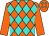 Orange and turquoise diamonds, orange sleeves (Gabrielle Farm)