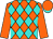 Orange and turquoise diamonds, orange sleeves, orange cap, turquoise visor (Gabrielle Farm)