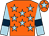 Orange, light blue stars, light blue sleeves, dark blue armlets, orange cap, light blue star (Mr G Saville, Mr G Brandrick & Partn)