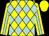 Yellow and light blue diamonds, light blue stripe on yellow sleeves, yellow cap (Henry Shun)