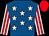 Royal blue, white stars, white & red striped sleeves, red cap (M Fennessy Jnr)