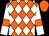Orange and white diamonds, white sleeves, orange armlets, orange cap (Calne Engineering Ltd)