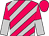 Cerise and silver diagonal stripes, halved sleeves, cerise cap (Mr Ben Cm Wong)