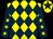 Yellow and dark blue diamonds, dark blue sleeves, yellow stars, yellow cap, dark blue star (Mr Rod Harding)
