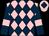 Pink and dark blue diamonds, dark blue sleeves, pink armlets, pink cap, dark blue diamond (Mr Gary Dewhurst)
