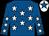 royal Blue, white stars, royal blue arms, white stars, white cap, royal blue star (H H M Al Thani)