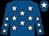 royal Blue, white stars, royal blue arms, white stars, royal blue cap, white star (H H M Al Thani)