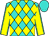 Turquoise and yellow diamonds, yellow sleeves, turquoise seams, turquoise cap (Bortolazzo Stable Llc)