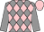 Grey and pink diamonds, grey sleeves, pink cap (P Fellous)
