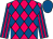 Fuchsia, royal blue diamonds, fuchsia stripes on royal blue sleeves, royal blue cap (Champion Equine Llc)