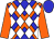 Blue, orange cross sashes, white diamonds, orange sleeves, blue cap (P And H Stables And C And B Stables)