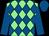 Green-light body, big-blue diamonds, big-blue arms, big-blue cap (Mme P Papot)