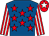 Royal blue, red stars, red and white striped sleeves, red cap, white star (The Kodi Bunch)