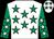 White, emerald green stars, emerald green sleeves, white stars (H E Sheikh F H J T Al-thani)