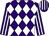 Purple and white diamonds, striped sleeves and cap (Mr Robert Houlton)