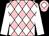 Pink & white diamonds, white sleeves, white diamond on cap (Mrs John J Murphy & M I Forbes)