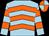 Light blue, orange chevrons, hooped sleeves, orange and light blue quartered cap (Mrs S B Porteous)
