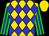 Gold, blue diamonds, blue stripes on green sleeves, gold cap (Francisco Alanis)