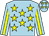 Light blue with yellow stars, yellow stripe on light blue sleeves (Mr & Mrs Jacky Yim)