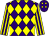 Purple and yellow diamonds, yellow and purple striped sleeves (Paul Inglett & Partners)