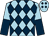 Light blue and dark blue diamonds, halved sleeves (Mrs J A Chenery & Mr R J Chenery)