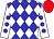 Blue and white checked diamonds, white sleeves, blue spots, red cap (Messrs T Butcher & N R Tovey)