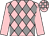 Pink, grey diamonds, pink sleeves, check cap (Woodlands Racing Syndicate)