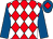 Red and white diamonds, royal blue sleeves, royal blue cap, red diamond (Mr A D Gott)
