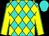 Turquoise and yellow diamonds, yellow sleeves, turquoise seams, turquoise cap (Bortolazzo Stable Llc)