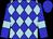 Blue, light blue diamonds, light blue bars on sleeves, blue cap (Twenty-Two Stable)