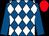 Royal blue & white diamonds, royal blue sleeves, red cap (Mrs Leanne Kennedy)
