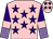 Pink, purple stars, purple and mauve halved sleeves, pink armlets, pink cap, purple stars (Aa84 Syndicate)