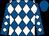 Royal blue, white diamonds, royal blue cap (Karen Raby)