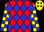 Red body, big-blue diamonds, yellow arms, big-blue checked, yellow cap, big-blue diamonds (T Gamiette)