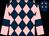 Dark blue and pink diamonds, pink sleeves, dark blue armlets (Mr P B Moorhead)