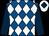 Royal blue and white diamonds, dark blue sleeves, white cap, dark blue diamond (The Ascot Revellers)