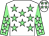 White, light green stars, light green sleeves, white stars and stars on cap (Mr M J Caddy)