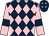 Dark blue and pink diamonds, pink sleeves, dark blue armlets (Mr P B Moorhead)