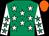 Emerald green, white stars, white sleeves, emerald green stars, orange cap (Let's Get Lucky Racing Club)
