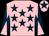 Pink, dark blue stars, dark blue and pink diabolo on sleeves, pink cap, dark blue star (Pineapple Stud)