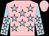 Rose body, light blue stars, light blue arms, rose stars, rose cap (Mlle Ll Rohn-pelvin)