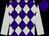Purple and silver diamonds, silver arms, purple cap (Mme S Gulcher)
