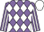 Mauve and white diamonds, striped sleeves, white cap (Mrs Valda Burke)