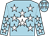 Blue-light body, white star, blue-light arms, white stars, blue-light cap, white stars (V Beguigne)