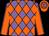 Mauve and Orange diamonds, orange sleeves, mauve seams, orange cap, mauve hoops (Stall Donna)