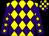 Yellow and purple diamonds, purple sleeves, yellow stars, check cap (The Snook Family & Partner)