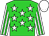 Lime Green, White stars, White and Lime Green striped sleeves, White cap (K Hawas)